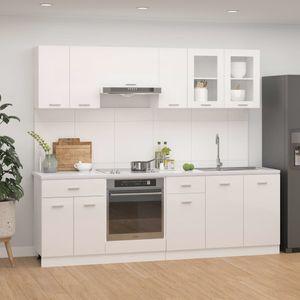 8-tlg. Küchenzeile Hochglanz-Weiß Spanplatte