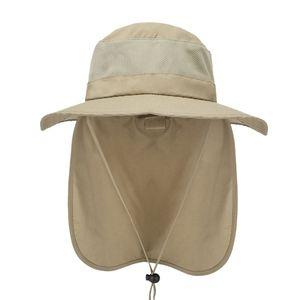 Outdoor Fischerhut Anglerhut Sonnenschutz Sommerhut Schutzkappe mit Nackenschutz 58-60cm Khaki Klassisch Solide Nack Flap Hat