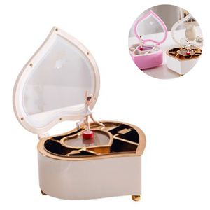 Schmuckkästchen mit Drehender Ballerina Mädchen Spieluhr Schmuckschatulle Herz Aufbewahrungsbox Schmuckbox für Kinder Ringe Ohrringe Halskette