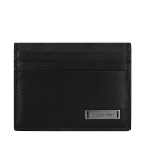 Calvin Klein Kreditkartenetui Quer 6 Kreditkartenfächer Smooth Plaque Leder Unisex