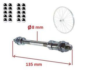 Fahrrad VORDERACHSE 8mm x 135 mm + 20x kugeln 3/16 zoll NABEN Vorderrad achse