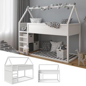 VitaliSpa Haus Hochbett Pinocchio - Spielbett Hausbett Kinderbett Leiter Erle weiß Jugendbett 90 x 200 cm, inkl. nutzbarer Fläche unter dem Bett
