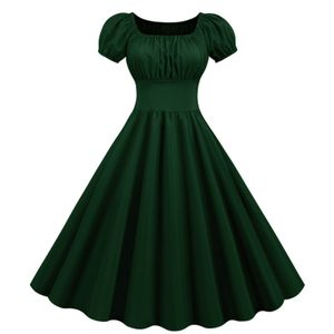 Damen Vintage Retro Rockabilly mit Flügelärmeln Cocktailkleid im Hepburn-Stil Größe:L,Farbe:Grün