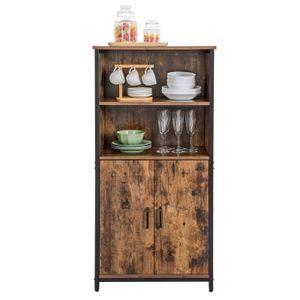 VASAGLE Küchenschrank mit 2 offenen Fächern | 60 x 35 x 125 cm multifunktional Industrie-Design vintagebraun-schwarz LSC66BX