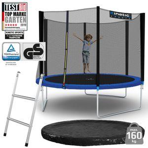 Kinetic Sports Outdoor Gartentrampolin Ø 305 cm, TPLS10, inklusive Sprungtuch aus USA-Mesh +Sicherheitsnetz +Rand- u. Regen-Abdeckung +Leiter, bis zu 160kg, , UV-beständig, BLAU