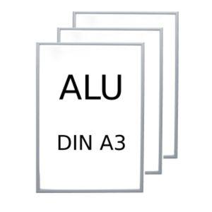 VonBueren Bilderrahmen ALU DIN A3, silberfarben 29,7 x 42,0 cm, 3 Stück