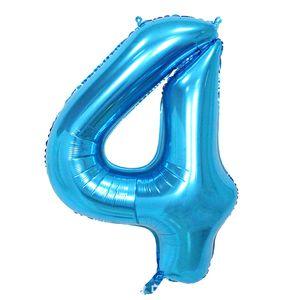 Oblique Unique 1x Folien Luftballon mit Zahl 4 Kinder Geburtstag Jubiläum Party Deko Ballon blau