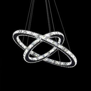 LED 48W Deckenlampe Kristall Ring Kronleuchter Decke Hängelampe Kronleuchter Halle Pendelleuchte 2/3 Ringe Deckenleuchte für Wohnzimmer Restaurant