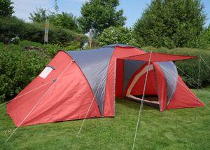 Campingzelt Loksa, 4-Mann Zelt Kuppelzelt Igluzelt Festival-Zelt, 4 Personen  rot