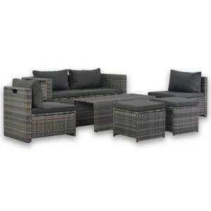 Huicheng Poly Rattan 6-tlg. Garten Lounge Set Sitzgruppe mit Polstern Grau