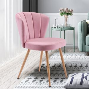 Merax 1 PC Esszimmerstühle Set Samt Küchenstuhl Wohnzimmerstuhl mit Shell-Stil Rückenlehne Vintage Sessel Polsterstuhl Komfort Sitzgefühl, Rosa