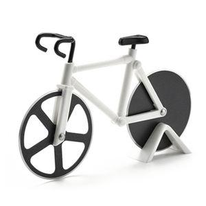 Pizzaschneider Fahrrad, Pizza Cutter aus Edelstahl Räder, Antihaftbeschichtung, Spülmaschinenfest, Küchenhelfer Cooles Geschenk -White