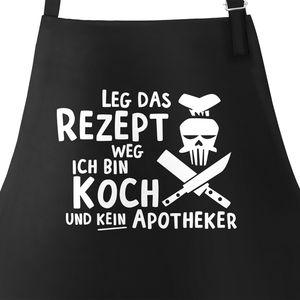 Grill-Schürze für Männer mit Spruch Leg das Rezept weg ich bin Koch und kein Apotheker Baumwoll-Schürze Küchenschürze Moonworks® schwarz unisize