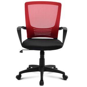 Bürostuhl Computerstuhl Ergonomisch Schreibtischstuhl Drehstuhl mit Netzrückenlehne Höhenverstellbar Rot