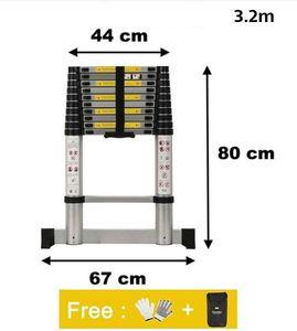 WYCTIN Teleskopleiter Multifunktionsleiter Aluleiter Klappleiter Anlegeleiter 3.2m