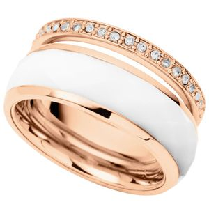 Fossil JF01123 Damen Ring Edelstahl rosé weiß Glas 50 (15.9)