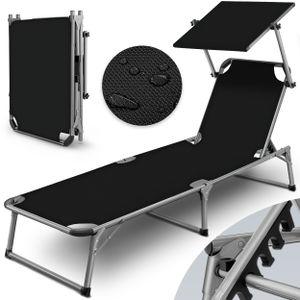 tillvex® Sonnenliege mit Dach schwarz | Gartenliege klappbar | Liegestuhl mit 6-fach verstellbarer Rückenlehne und Tragegriff