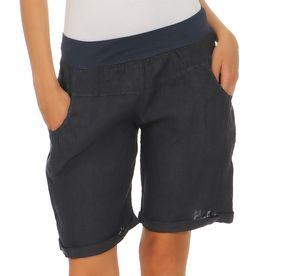 Mississhop Damen Leinenshorts Bermuda kurze Hose Freizeithose 100% Leinen Shorts Uni Sommer Strand Art. 276  Dunkelblau L