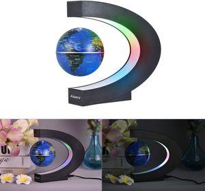 Aibecy Magnetische Schwebender Globus Beleuchtet 3 Zoll C-förmiger Weltkarten Globus mit LED-Farblichtern für die Home Office Schreibtischdekoration Blau