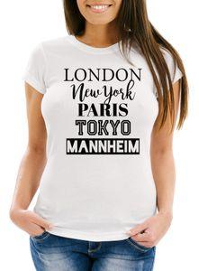 Damen T-Shirt London Paris New York Tokyo Deine Stadt Dorf Ort Ortsname Slim Fit Personalisierung Moonworks® weiß XL
