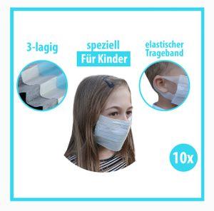 10x Kinder Mundschutz spezial Maske latexfrei 3-lagig- Einweg Atemschutz für Kinder