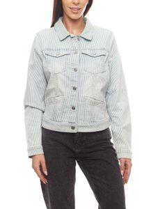 s.Oliver Jeans-Jacke angesagte Damen Frühlings-Jacke mit Streifenmuster Blau/Weiß, Größe:36