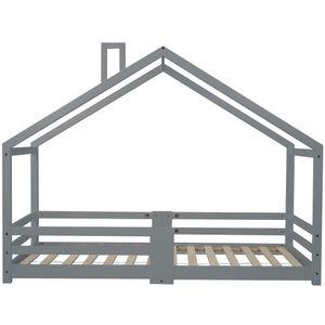 90 x 200cm Kinderbett Hausbett mit Schornstein, Rausfallschutz, Robuste Lattenroste, Kiefernholz Haus Bett for Kids, Grau