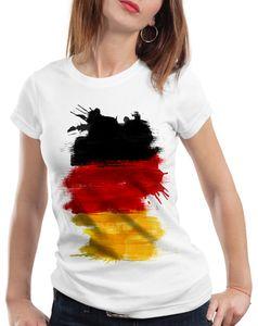 style3 Flagge Deutschland Damen T-Shirt Fußball Sport Germany WM EM Fahne, Farbe:Weiß, Größe:2XL