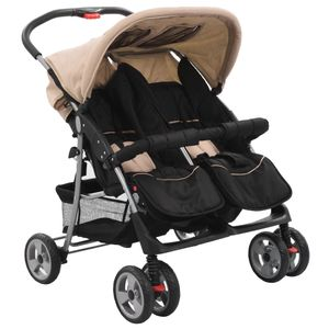 vidaXL Baby Zwillingswagen Taupe und Schwarz Stahl