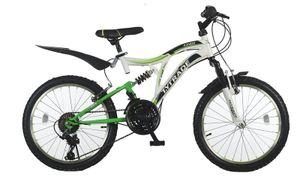 20 Zoll Kinder Jungen Mädchen Fahrrad Kinderfahrrad Mtb Mountainbike Fahrrad Rad Bike Unisex 21 GANG Fully Vollfederung KINGS Weiss Weiß Grün
