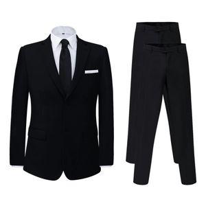 vidaXL 2-tlg. Business-Anzug für Herren mit extra Hose Schwarz Gr. 46