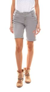 EIGHT2NINE kurze Hose schöne Damen Sommer-Chino inklusive geflochtenem Stoffgürtel Grau, Größe:S