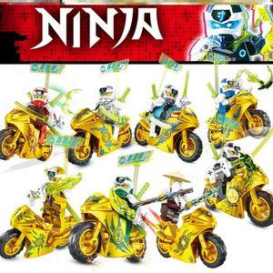 CUIFULI 8 Stückt Golden Motorcycle Ninjago Mini Figuren Bausteine Sonstige Spielzeugfiguren