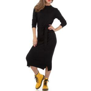 Ital-Design Damen Kleider Strickkleider Schwarz