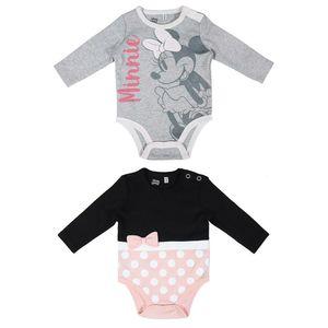 Disney 2er Pack Baby Mädchen Langarm Bodys Minnie Mouse grau + schwarz-rosa 9-12 Monate (80)
