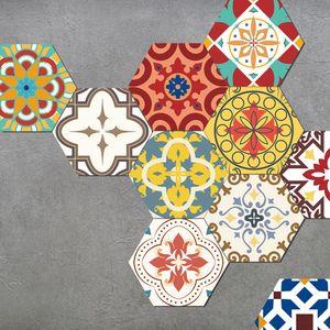 10 Stück selbstklebende Fliesen Wand Boden Aufkleber Wohnkultur,Farbe: Exotisch,Größe:20x32cm