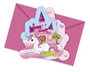 einladungen Unicorn 12 x 10 cm Papier rosa 12-tlg