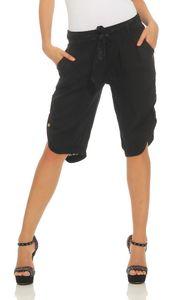281 Mississhop Damen Capri 100% Leinen Bermuda lockere kurze Hose Freizeithose Shorts mit Gürtel und Knöpfen  Schwarz XL