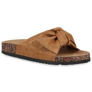 Mytrendshoe Damen Komfort Sandalen Bequeme Sommer Latschen Schleifen Schlappen 821205, Farbe: Hellbraun, Größe: 38