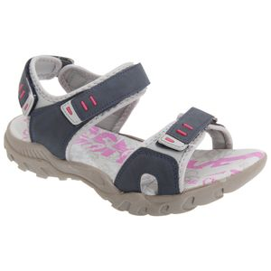 PDQ Damen Sport Sandale / Trekkingsandale mit Klettverschluss DF437 (7 UK/40 EU) (Marineblau/Grau)