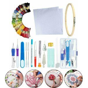 85Pcs DIY Stickerei Stift Punch Nadel Set Stricken Nähwerkzeug Kit Zuhause Anfänger-Stick-Kreuzstich-Set, Bastelwerkzeug-Set zum Nähen, Stricken, DIY-Sticken