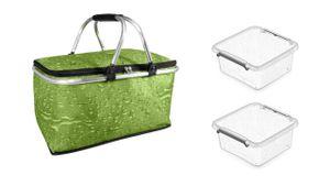 Einkaufskorb Kühltasche Kühlkorb Picknick Korb Isoliertasche Camping Picknickkoffer + 2 Vorratsdosen 1,15 Liter