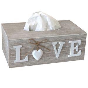 Kosmetiktücherbox 'Love' Weiß/Braun 24,5x14x9,5cm Shabby-Look