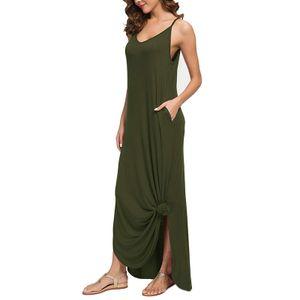 y Seitenschlitz Hosenträger Langes Kleid T-Shirt Der Frauen,Farbe: Grün,Größe:XL