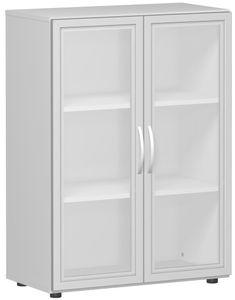 Geramöbel Flügeltürenschrank mit satinierten Glastüren im Holzrahmen, mit Standfüßen, inkl. Türdämpfer, nicht abschließbar, 800x400x1104, Lichtgrau, S-383802-GTL