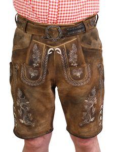 Kurze Trachten Lederhose urig speckig Vintage , Größe:50, Farben:braun meliert