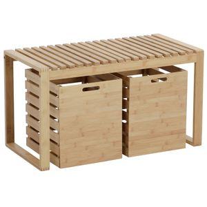 Sitzbank, Bambus, mit Schubkästen