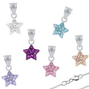 Kristall Stern Kette: Kinder Kette / Halskette 925 Silber, Farbe:Amethyst