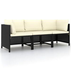 vidaXL 3-Sitzer-Gartensofa mit Auflagen Schwarz Poly Rattan