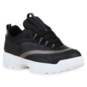 Mytrendshoe Damen Plateau Sneaker Glitzer Turnschuhe Holo Plateauschuhe 826302, Farbe: Schwarz, Größe: 37
